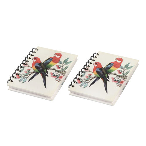 Set of 2 - Glossy Parrot Cover Spiral Notebook (Size 15x10.5 cm) - 120 Pages