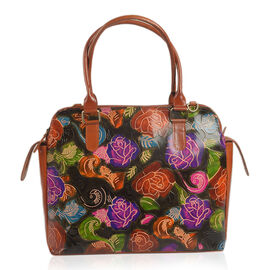 100% Genuine Leather Maroon, Purple and Multi Colour Handpainted Flower RFID Blocker Tote Bag with External Zipper Pocket (Size 35x33x28x14 Cm)