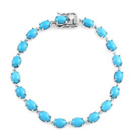 9K White Gold AA Arizona Sleeping Beauty Turquoise (Ovl) Bracelet (Size 7.5) 14.00 Ct, Gold wt 7.96