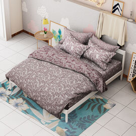 Limited Available- 3 Piece Set - Leaf Pattern Jacquard Quilt (Size 240x260 Cm) and Two Pillow Covers