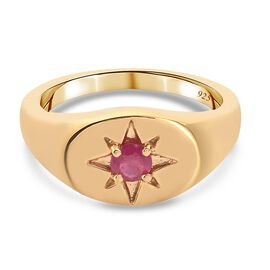 Fissure Filled Ruby Ring in 14K Gold Overlay Sterling Silver 0.33 ct,  Sliver Wt. 5.46 Gms  0.330  C