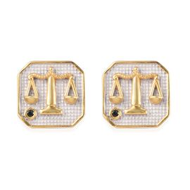 Green Tourmaline Libra  Zodiac Stud Earrings (with Push Back) in Yellow Gold and Platinum Overlay St