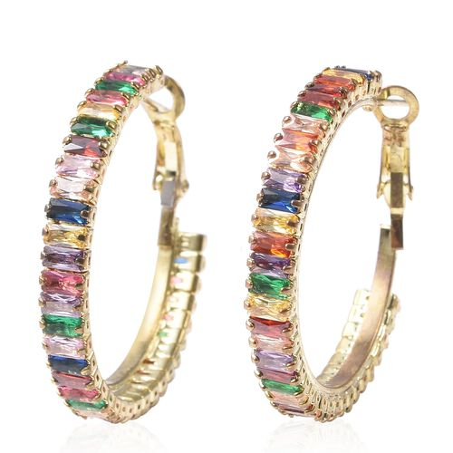 2 Piece Set - Simulated Rainbow Sapphire Adjustable Bolo Bracelet (Size 6-9) and Earrings (with Clasp) in Yellow Gold Tone