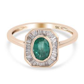 OTO - 9K Yellow Gold Premium Kagem Zambian Emerald and Diamond Halo Ring 1.00 Ct.