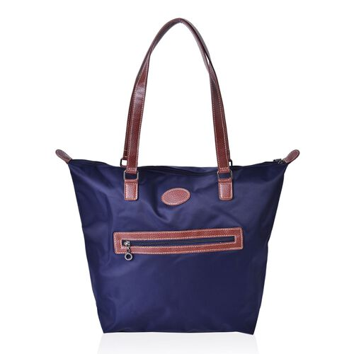 Designer Inspired - Dark Navy Water Resistant large City Tote with External Zipper Pocket (Size 42X33X28X13.5 Cm)