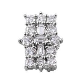 ILIANA 18K White Gold IGI Certified Diamond (Bgt and Rnd) (SI/G-H) Boat Cluster Pendant  0.500 Ct.