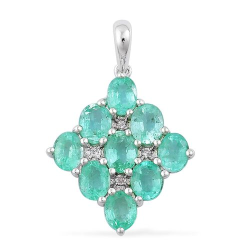 9K W Gold Boyaca Colombian Emerald (Ovl), Diamond Pendant 3.040 Ct.