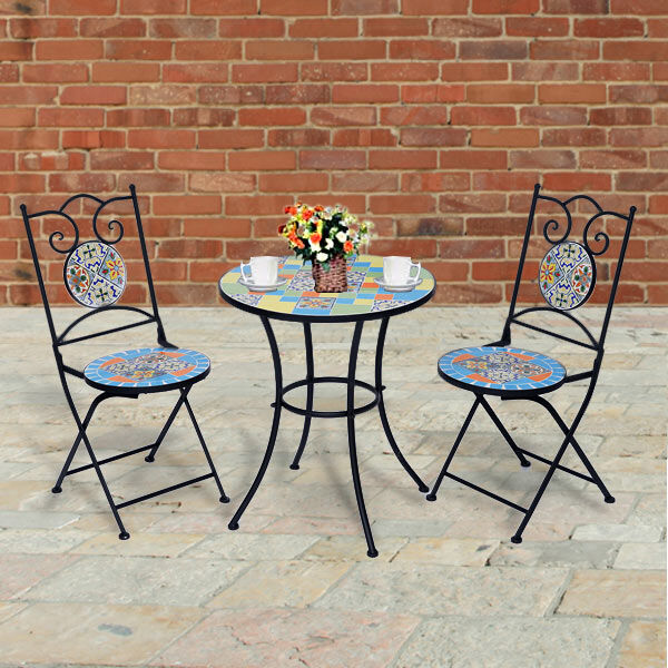3 Piece Set - Square Pattern Mosaic Bistro Set Table (Size:60x60x70Cm) and 2 Chairs (Size:39x44x90Cm