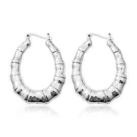 Rhodium Overlay Sterling Silver Hoop Earrings (with Clasp Lock), Silver wt 9.82 Gms.