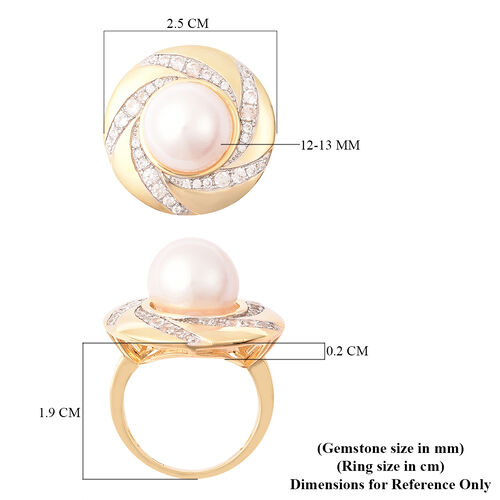 Edison Pearl and Natural Cambodian Zircon Swirl Ring in Yellow Gold Overlay Sterling Silver, Silver wt 7.42 Gms