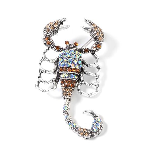 Multi Colour Austrian Crystal (Rnd) Scorpion Brooch in Silver Tone
