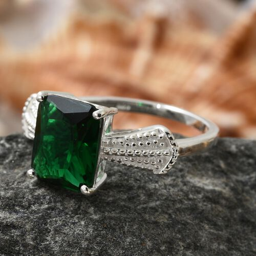 Designer Inspired- Simulated Russian Diopside (Oct 11x9mm) Solitaire Ring in Sterling Silver