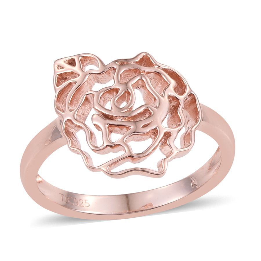 Kimberley Rose Gold Overlay Sterling Silver Floral Ring, Silver wt ...