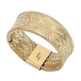 Italian Made 9K Yellow Gold Stretchable Mesh Ring - (Size P to T )