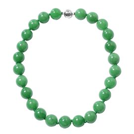 Green Jade (Rnd 19mm) Beads Necklace (Size 20) in Rhodium Overlay Sterling Silver 1250.00 Ct.