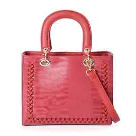 Close Out Deal Sassy Red Tote Bag with Removable Shoulder Strap (Size 25x20.5x12.5 Cm)