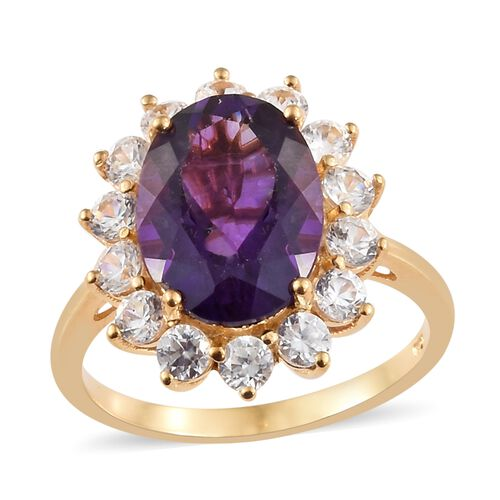 Lusaka Amethyst (Ovl 5.25 Ct), Natural Cambodian Zircon Ring in 14K Gold Overlay Sterling Silver 7.500 Ct.