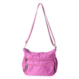 Close Out Deal- Water Resistant Multi Pocket Cross Body Bag - Black ( 34x22x12 Cms) - Fuchsia Colour