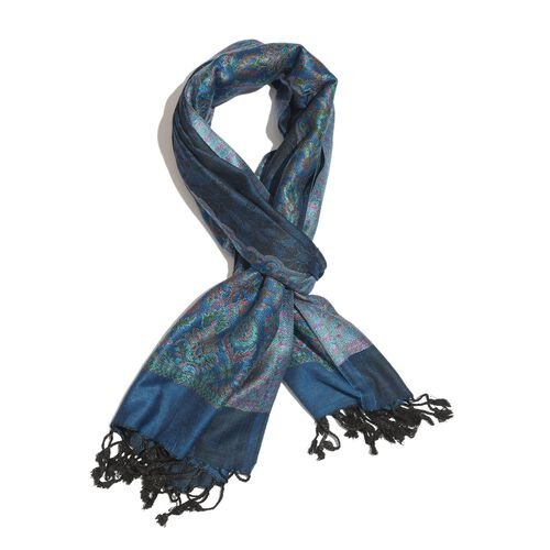 Blue, Black and Multi Colour Scarf with Fringes at the Bottom (Size 180x70 Cm)