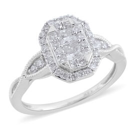 New York Close Out Deal- 14K White Gold Diamond (Princess and Rnd) (I1-I2/G-H) Ring  0.750  Ct.