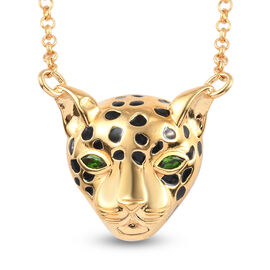 Sundays Child Russian Diopside Enamelled Leopard Necklace (Size 18) in 14K Gold Overlay Sterling Sil