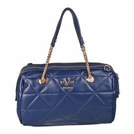 19V69 ITALIA by Alessandro Versace Quilted Pattern Crossbody Bag with Detachable Strap (Size 27x10x18cm) - Navy
