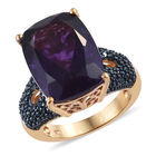 Amethyst (Cush 16x12 mm), Blue Diamond Ring (Size O) in 14K Gold Overlay Sterling Silver 10.000 Ct, Silver wt