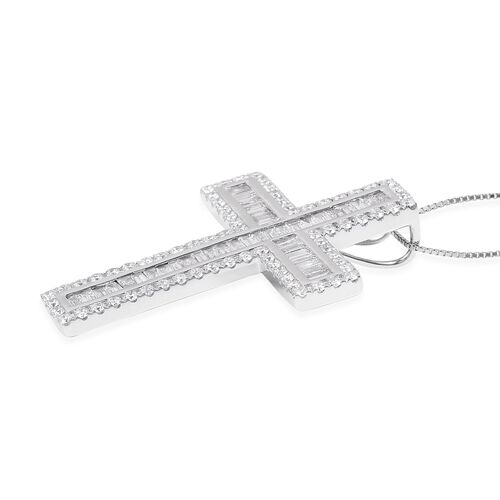 Collectors Edition- ILIANA 18K White Gold IGI Certified Diamond (SI/G-H) (Bgt and Rnd) Cross Pendant With Chain 2.050 Ct, Gold wt 6.50 Gms.
