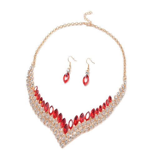 2 Piece Set - Simulated Ruby and White Austrian Crystal Necklace and Hook Earrings in Yellow Gold To