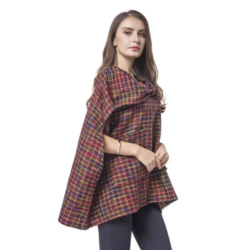 Italian Designer Off The Shoulder Green, Red and Purple Colour Checks Pattern Winter Poncho with Pocket (Size 70X65 Cm)