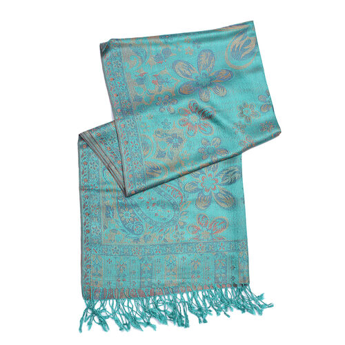 100% Silk Turquiose, Pink and Multi Colour Flower and Paisley Pattern Scarf (Size 180x70 Cm)