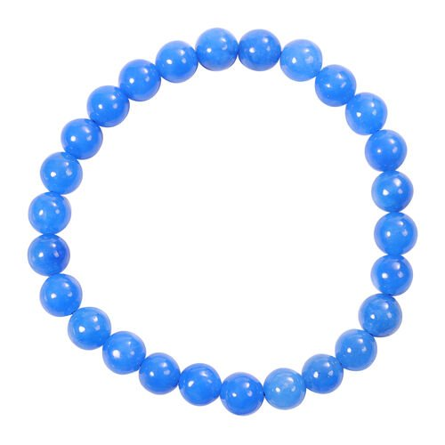 2 Piece Set -  Blue Jade Stretchable Bracelet (Size 7.5) and Stud Earrings (with Push Back) in Sterling Silver 128.00 Ct.