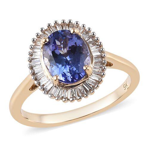 2 Carat Tanzanite and Diamond Halo Ring in 9K Yellow Gold 2.55 Grams