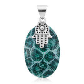 Royal Bali Collection - Green Sponge Coral Hamsa Hand Pendant in Sterling Silver