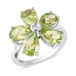 4.30 Ct Hebei Peridot and Cambodian Zircon Floral Ring in Rhodium Plated Sterling Silver