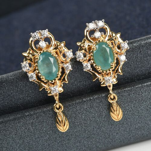Grandidierite and Natural Cambodian Zircon Dangle Earrings (with Push BAck)  in 14K Gold Overlay Sterling Silver 1.22 Ct.