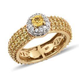 Chanthaburi Yellow Sapphire (Rnd), Natural Cambodian Zircon Ring in 14K Gold and Platinum Overlay St