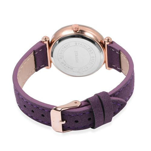 Designer Inspired STRADA Japanese Movement White Austrian Crystal Studded Water Resistant Watch in Rose Gold Tone with Purple Colour Strap