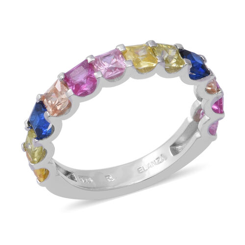 ELANZA Simulated Rainbow Sapphire Half-Eternity Ring in Rhodium Overlay Sterling Silver 4.08 Ct.