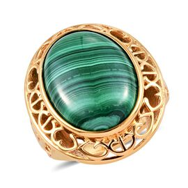 Malachite (Ovl 20x15 mm) Ring (Size O) in 18K Yellow Gold Plated 18.00 Ct.