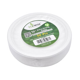 Sugarcane Bagasse Round Plate (Pack of 50 pcs) (Size 25x25cm)