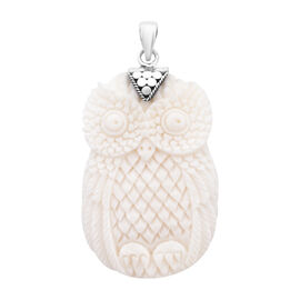 Princess Bali Collection - OX Bone Carved Face Owl Pendant in  Sterling Silver