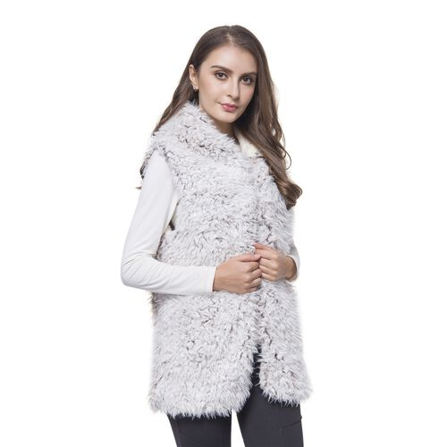 Close Out One Time Deal- Khaki and White Colour Faux Fur Hoodie Reversible Gilet (Size 70X50 Cm)