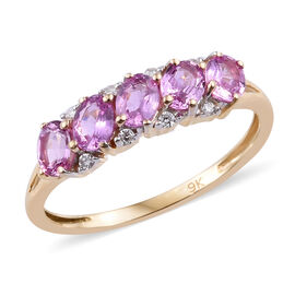 Madagascar Pink Sapphire (0.95 Ct) and Diamond 9K Y Gold Ring  1.000  Ct.