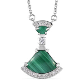 GP - Malachite, Natural Cambodian Zircon and Blue Sapphire Necklace (Size 18) in Platinum Overlay St