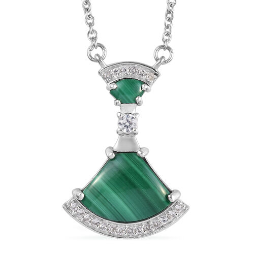 GP 5.51 Ct Malachite and Multi Gesmtone Drop Necklace in Platinum Plated Sterling Silver 18 Inch