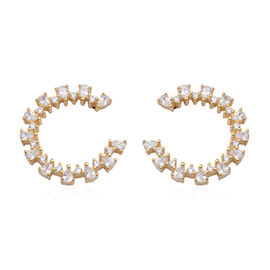 ELANZA  AAA Simulated Diamond Earrings (with Screw Back) in Yellow Gold Overlay Sterling Silver