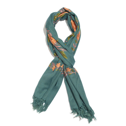 100% Merino Wool Dark Green, Orange and Multi Colour Floral and Leaves Embroidered Scarf with Tassel