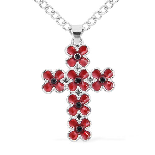 TJC Poppy Design - 2 Piece Set - Black Austrian Crystal Enamelled Floral Pendant with Chain (Size 24 with 2 inch Extender) and Earrings (with Push Back) in Silver Tone
