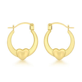 Designer Inspired 9K Yellow Gold Heart Creole Hoop Earrings (with Clasp)